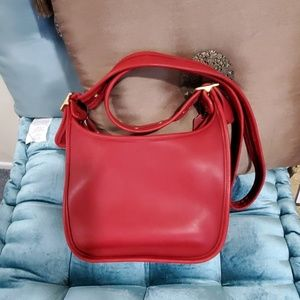 Red classic leather Coach bag